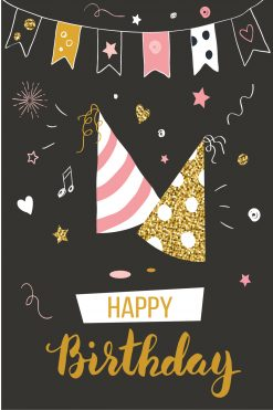 Happy Birthday Card Glitz Hats