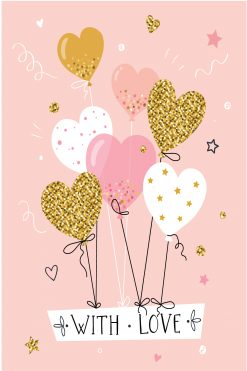 Happy Birthday Card Glitz With Love Balloons