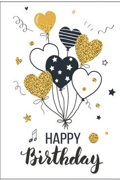 Happy Birthday Card Glitzy Balloons