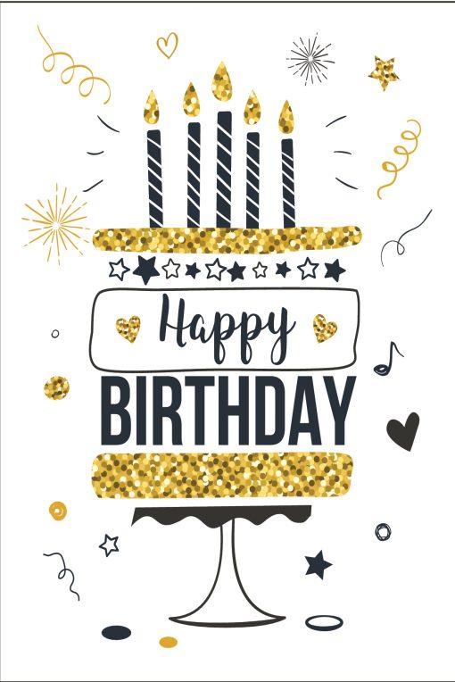 Happy Birthday Card Glitzy Candles on Cake