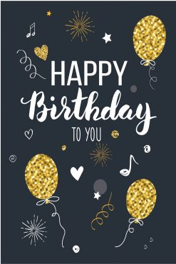 Happy Birthday Card Glitzy Gold Balloons